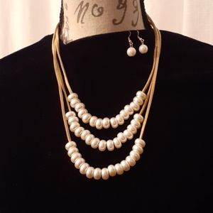 NEW! Pearl bead necklace & Earring Set